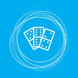Domino icon on a blue background with abstract circles around and place for your text. Royalty Free Stock Photography
