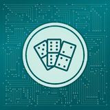 Domino icon on a green background, with arrows in different directions. It appears on the electronic board. royalty free illustration
