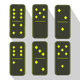 Domino icon illustration of six pieces  green-five and zero Royalty Free Stock Photos