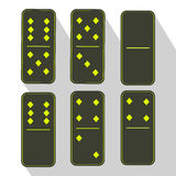 Domino icon illustration of six pieces  green Royalty Free Stock Images