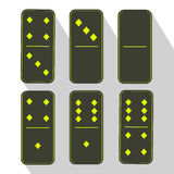 Domino icon illustration of six pieces Green three and zero Stock Images