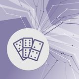 Domino icon on purple abstract modern background. The lines in all directions. With room for your advertising. stock illustration