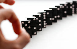 Domino knocks the flick of a finger. Dominoes isolated on a whit Stock Photos