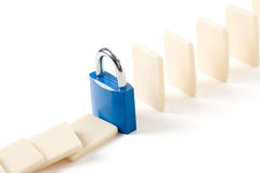 Domino and Lock Royalty Free Stock Photography