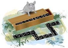 Domino and mouse Stock Images