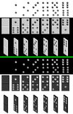 Domino. Painted black and white dominoes. In the full-face and half-turned. Konstrutor to create a dominoes with their values attached Royalty Free Stock Images