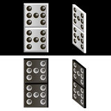 Domino. Painted black and white dominoes. In the full-face and half-turned. Konstrutor to create a dominoes with their values attached Royalty Free Stock Photos