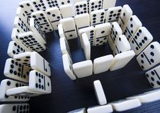 Domino pieces & Labyrinth Stock Photo