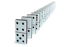 Domino pieces in a line Royalty Free Stock Photos