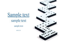 Domino pieces in a line or zigzag. On white background stock photo