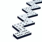 Domino pieces in a line or zigzag. On white background stock image