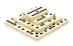 Domino pyramid building Stock Photo