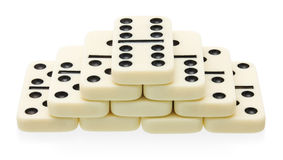 Domino pyramid building Royalty Free Stock Photography