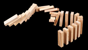Domino Rally with Wooden Blocks Stock Image