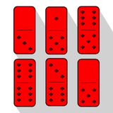 Domino red. One and five. Heart of six pieces Stock Images