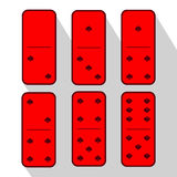 Domino red. One and three. Heart of six pieces Stock Image