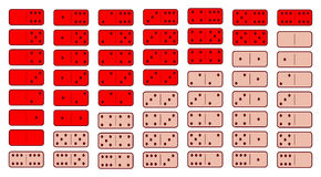 Domino red. twenty-eight pieces on a gray background. Used for web development, printing, decorations, ornaments Stock Photos