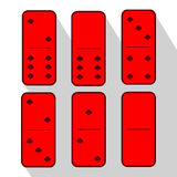 Domino red. Zero and six. Heart of  pieces Royalty Free Stock Images