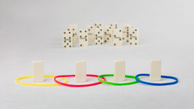 Domino represent human with different psyhological traits based on DISK model. Dominance, inducement, submission, and. Compliance stock photography