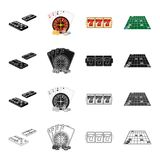 Domino, roulette in the casino, cards, chips, coin, slot machine, jackpot, roulette cloth. Casino set collection icons. In cartoon black monochrome outline Royalty Free Stock Images