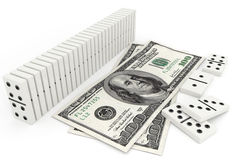 Domino in row and one hundred dollar bill Royalty Free Stock Image