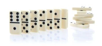 Domino  row of white dominoes Royalty Free Stock Photo