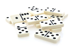 Domino  row of white dominoes Royalty Free Stock Images