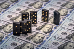 Domino's boven ons dollar Stock Afbeelding