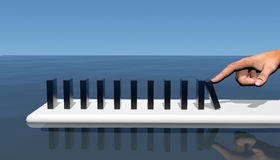 Domino's die de plank lopen Stock Foto's