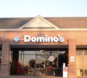 Domino`s Pizza Restaurant in a Strip Mall stock images