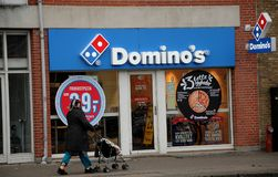 DOMINO`s pizza restaurnt. Copenhagen /Denmark - 31.January 2018_ .Domino`s pizza chain in dnish capita sell 99dk about 6 or 5 usa dollars Photo.Francis Joseph royalty free stock images