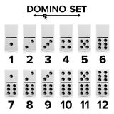 Domino Set Vector Realistic Illustration. White Color. Dominoes Bones  On White. Modern Collection Stock Photos