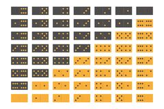 Free Domino Sets Of 28 Tiles. Two Packages In Grey And Yellow. Simple Flat Vector Illustration Royalty Free Stock Image - 181921566