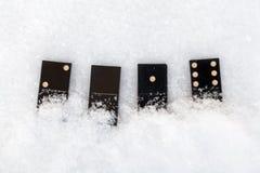 Domino som ligger på snö Det värde av 2016 Arkivfoton