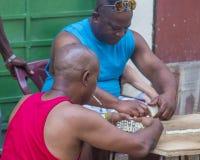 Domino'sspelers in Havana, Cuba Royalty-vrije Stock Foto