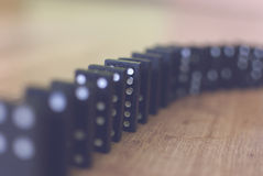 Domino 2. Stacked dominoes on the floor Royalty Free Stock Photo
