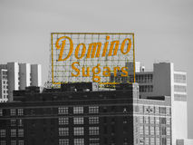 Domino Sugars Baltimore. The famous yellow sign of the Domino Sugar factory in Baltimore, Maryland stock image