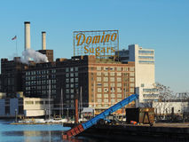 Domino Sugars Baltimore. The famous yellow sign of the Domino Sugar factory in Baltimore, Maryland royalty free stock photos