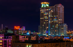 The Domino Sugars Factory and HarborView Condominiums at night f Royalty Free Stock Photo