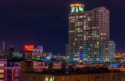Domino Sugars Factory and HarborView Condominiums at night from Federal Hill, Baltimore, Maryland royalty free stock photography