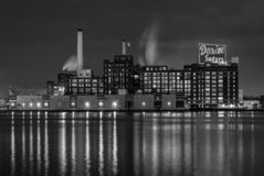 The Domino Sugars Factory at night, in Baltimore, Maryland royalty free stock photo