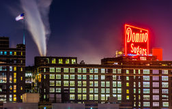 The Domino Sugars Factory at night in Baltimore, Maryland. Stock Image