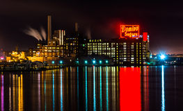 The Domino Sugars Factory at night, in Baltimore, Maryland. Stock Photos