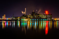 The Domino Sugars Factory at night in Baltimore, Maryland. Stock Photography