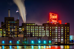 The Domino Sugars Factory at night in Baltimore, Maryland. Royalty Free Stock Image