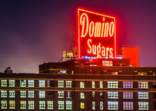 The Domino Sugars Factory at night in Baltimore, Maryland. Stock Images