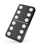 Domino tile with six dots. Black domino tile with six dots on both sides isolated on white background. 3D illustration Stock Image