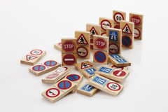 Domino with traffic signs on white background Stock Photos