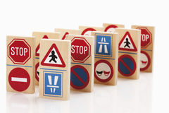 Domino with traffic signs on white background Royalty Free Stock Image