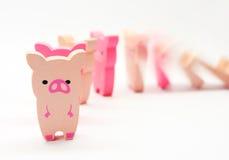 Domino van varkens Stock Foto's